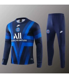 Combinaison d'entraînement Paris Saint Germain Blue Strip Round 1Necked 2019-2020