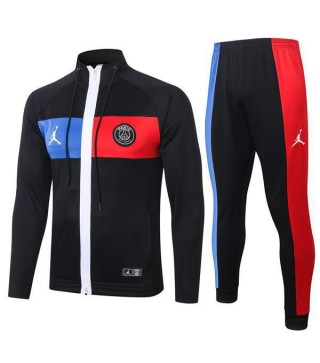 Paris Saint Germain Jordan Black Hoodie Jacket Blue Red 2020