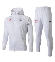 Veste de football à capuche Paris Saint Germain blanche 2019-2020