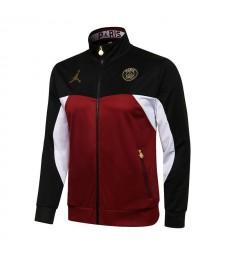 Jordan Paris Saint-Germain Pantalon de veste de football noir / rouge Uniformes de survêtement de football pour hommes 2021-2022