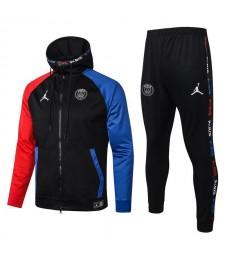 Jordan Paris Saint Germain Full Zipper Bleu Rouge Manches Veste Noire Survêtement Survêtement 2020-2021