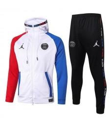 Jordan Paris Saint Germain Full Zipper Bleu Rouge Manches Veste Blanche Sweat À Capuche Survêtement 2020-2021