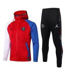 Jordan Paris Saint Germain Full Zipper Blanc Manches Bleues Veste Rouge Hoodies Survêtement 2020-2021