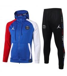 Jordan Paris Saint Germain Full Zipper Blanc Rouge Manches Veste Bleue Survêtement Survêtement 2020-2021