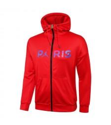 Jordan Paris Saint-Germain Red Soccer Hoodie Jacket Football Survêtement Uniformes 2021-2022