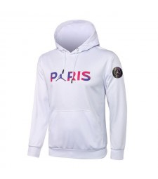 Jordan Paris Saint-Germain Sweat à capuche de football blanc Uniformes de survêtement de football 2021-2022