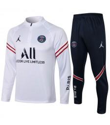 Jordan Paris Saint-Germain Red Stripe Blanc Survêtement De Football Uniformes De Football Pour Hommes 2021-2022