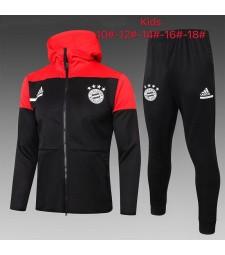 Bayern Munich Enfants Veste à capuche de football rouge-noir Survêtement de football 2021-2022