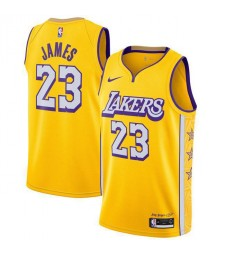 Los Angeles Lakers 23 # JAMES City Edition Yellow Basketball Jersey 2019-2020