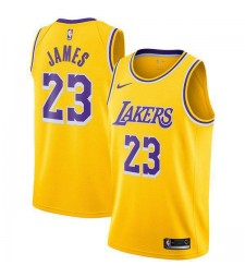 Los Angeles Lakers 23# LeBron James Jersey Yellow 2018/2019