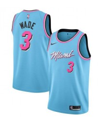 Maillot de basketball Miami Heat 3 # WADE Sky Blue City Edition 2019-2020