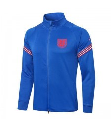 Angleterre Royal Blue Training Mens Long Zipper Soccer Jacket 2020-2021