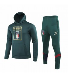 Kit sweat-shirt de football à capuche vert foncé Italie 2019-2020