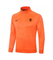 Pays-Bas Hommes Football Orange Long Zipper Soccer Jacket 2020-2021