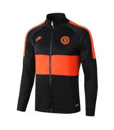 Veste de football col montant noire Chelsea Orange Logo 2019-2020