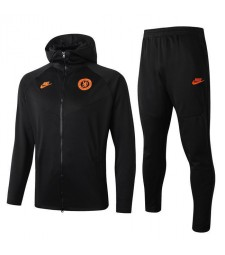 Ensemble de veste de football à capuche noire Chelsea Logo orange 2019-2020