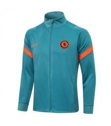 Chelsea Grass vert col haut veste de football pantalon hommes football survêtement uniformes 2021-2022