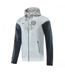 Chelsea Light Gray Black Soccer Windrunner 2020