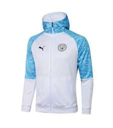 Manchester City Veste à capuche de football blanc Uniformes de survêtement de football 2021-2022