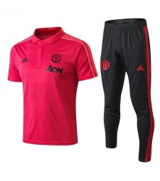 Manchester United Men Polo+Pant Kit Pink 2018/2019