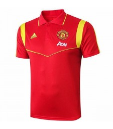 Manchester United Polo Jersey Football Training Jersey Navy Soccer Sportswear T-shirt Red 2019-2020