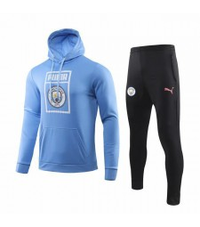 Kit sweat-shirt de football à capuche bleu clair Manchester City 2019-2020