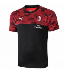 AC Milan Training Jersey Sportwear Mens Soccer Shirt Football À Manches Courtes Rouge Noir T-shirt 2019-2020