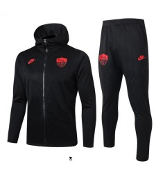 Veste de football à capuche As Roma Black Logo rouge 2019-2020