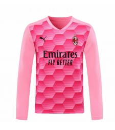 AC Milan gardien de but à manches longues maillot de football rose maillots de football uniformes 2020-2021