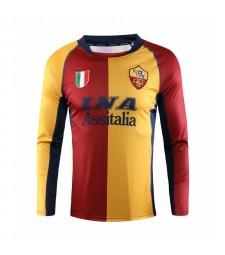 AS Roma Maillots de football à domicile à manches longues Maillots de football pour hommes Uniformes 2001-2002