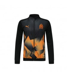 Olympique De Marseille Black Jacket Orange Printing 2019-2020