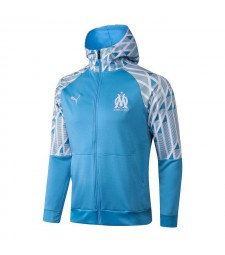 Olympique De Marseille Blue Soccer Hoodie Jacket Football Tracksuit Uniforms 2021-2022