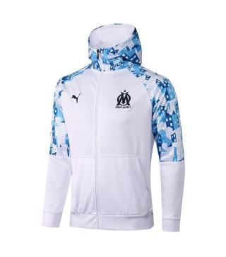 Olympique De Marseille White Soccer Hoodie Jacket Football Tracksuit Uniforms 2021-2022