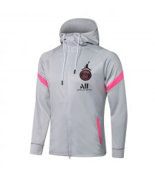Jordan Paris Saint-Germain Gris Football Hoodie Veste Football Survêtement Uniformes 2021-2022