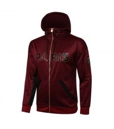 Jordan Paris Saint-Germain Wine Red Soccer Hoodie Jacket Football Survêtement Uniformes 2020-2021