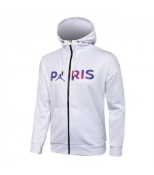 Jordan Paris Saint-Germain Blanc Football Hoodie Veste Football Survêtement Uniformes 2021-2022