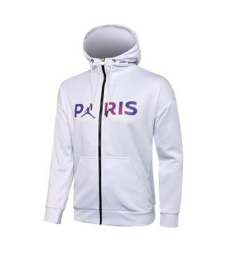 Jordan Paris Saint-Germain Blanc Football Hoodie Veste Football Survêtement Uniformes 2021-2022