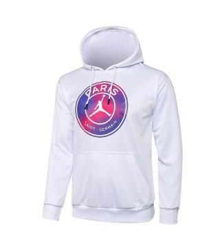 Jordan Paris Saint-Germain Sweat à capuche de football blanc Uniformes de survêtement de football 2021-2022
