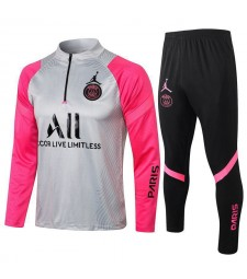 Jordan Paris Saint-Germain Survêtement De Football Gris / Rose Uniformes De Football Pour Hommes 2021-2022