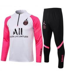 Jordan Paris Saint-Germain Survêtement De Football Blanc / Rose Uniformes De Football Pour Hommes 2021-2022