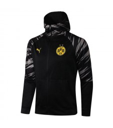 Borussia Dortmund Veste à capuche de football noir Uniformes de survêtement de football 2021-2022