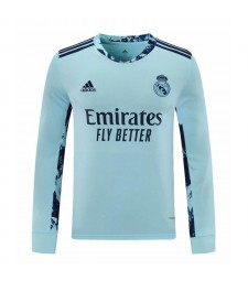 Real Madrid bleu ciel à manches longues gardien de but maillot de football maillots de football uniformes 2020-2021