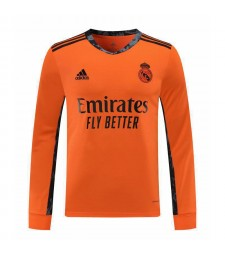 Real Madrid Orange à manches longues gardien de but maillot de football maillots de football uniformes 2020-2021