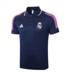 Real Madrid Football Maillot Bleu Royal Football Blanc Logo Polo Uniforme 2021-2022