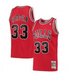 Chicago Bulls Scottie Pippen 33# Mitchell&Ness Red Hardwood Classics Swingman Jersey Red 1995-1996