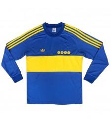 Boca Juniors rétro manches longues maillots de football à domicile pour hommes chemises de football uniformes 1981