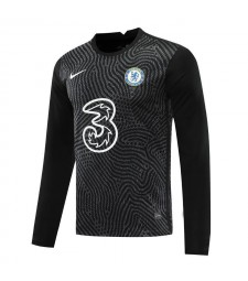Chelsea noir à manches longues gardien de but de football maillot de football uniformes 2020-2021