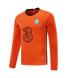 Chelsea Orange à manches longues gardien de but de football maillot de football uniformes 2020-2021