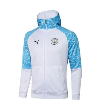 Manchester City Veste à capuche de football blanc Uniformes de survêtement de football 2021-2022