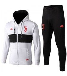Juventus blanc à capuchon Football Kit de formation complet zippé manteau de football en plein air 2019-2020